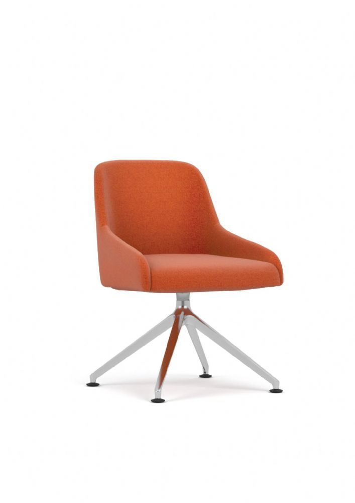 Pledge Flow Fully Upholstered Swivel Chair With 4 Leg Base